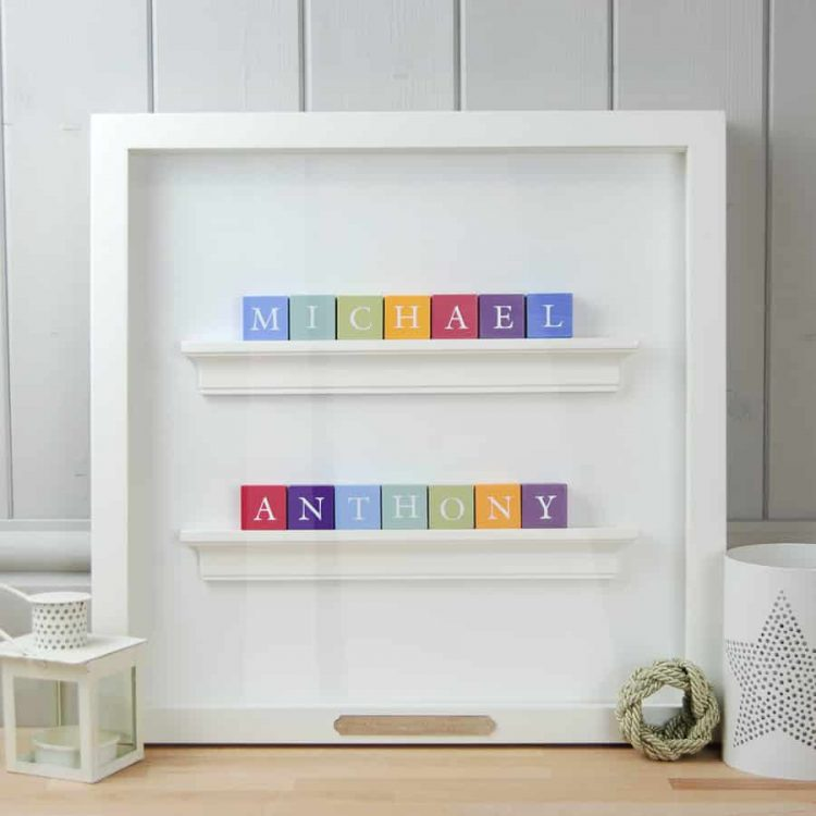 Baby Gift and Christening Gift for twin boys Personalised ABC Frame for Twins Vintage Colours