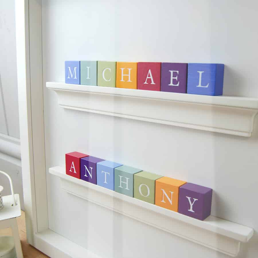 Baby Gift Christening Gift for twin boys Personalised ABC Frame Vintage Colours Close Up