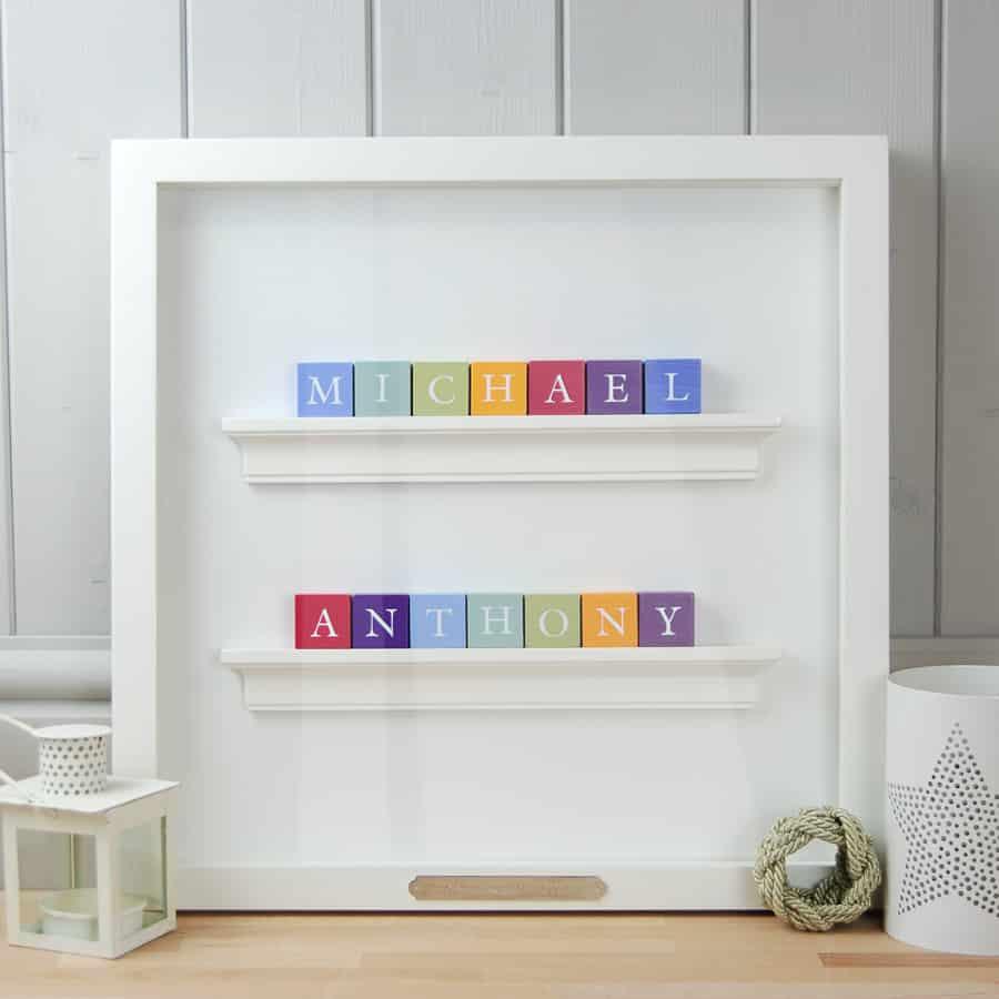 Christening Gift for Twin boys in white frame