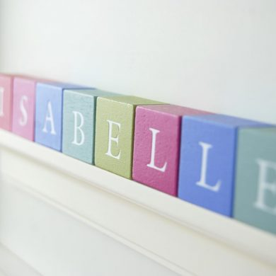 Christening Gift for Girl Pastel ABC Block Frame Close Up