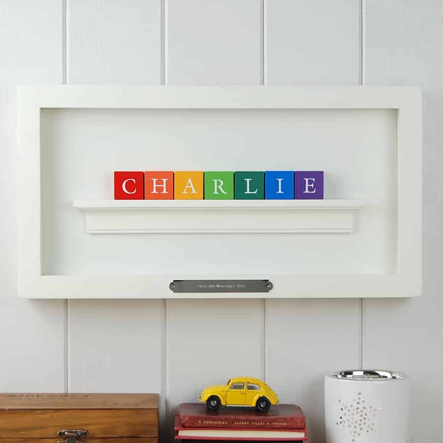 Christening Gift for boy ABC blocks in white frame