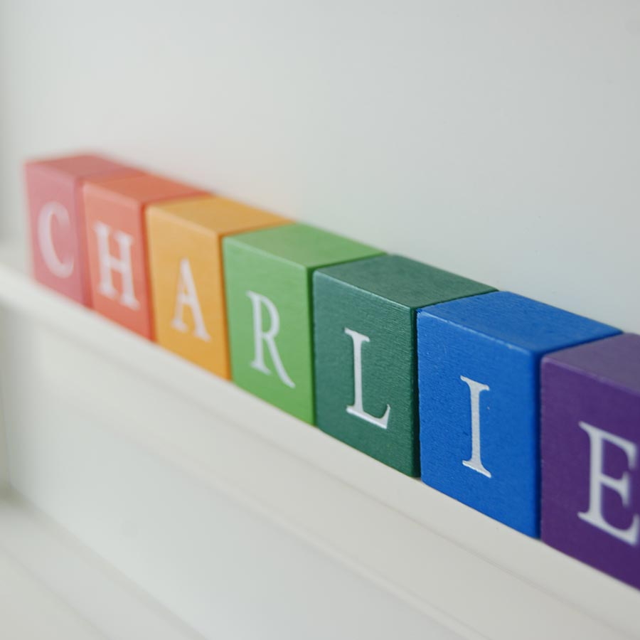 Close up of Christening Gift for boy ABC Frame Primary colours