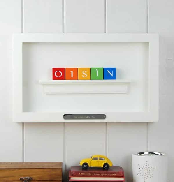 Close up of Christening Gift for boy ABC Frame Irish Letters