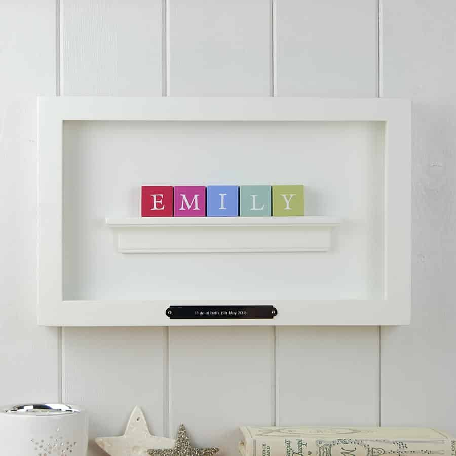 Christening Gift and Baby Gift Personalised ABC Frame for Girls Pastel Colours