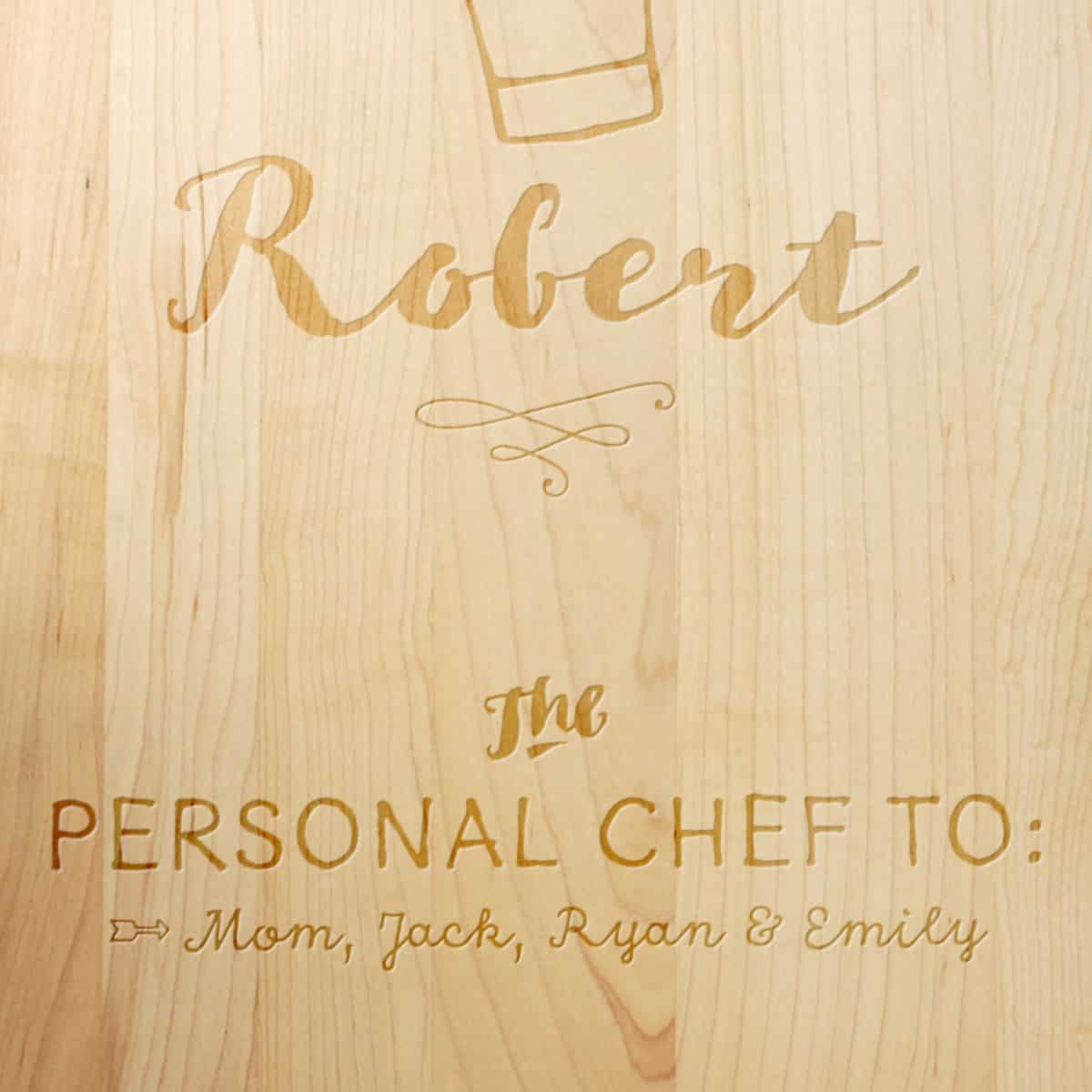 personal dad chef cutting board make it with words