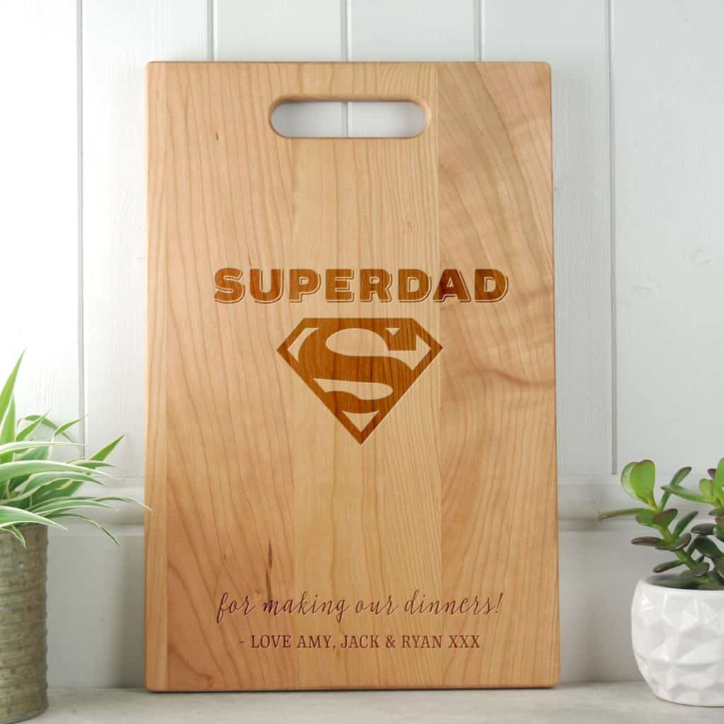 Gifts for Dad SuperDad Cherry Cutting Board