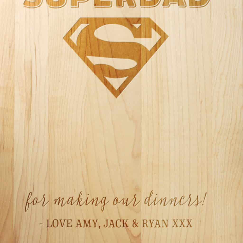 ifts for Dad SuperDad Cherry Cutting Board Close Up