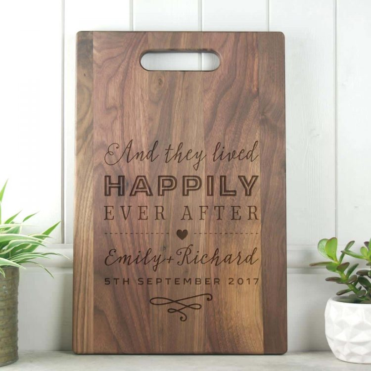 Happily Ever After Wedding Gift Walnut Chopping Board