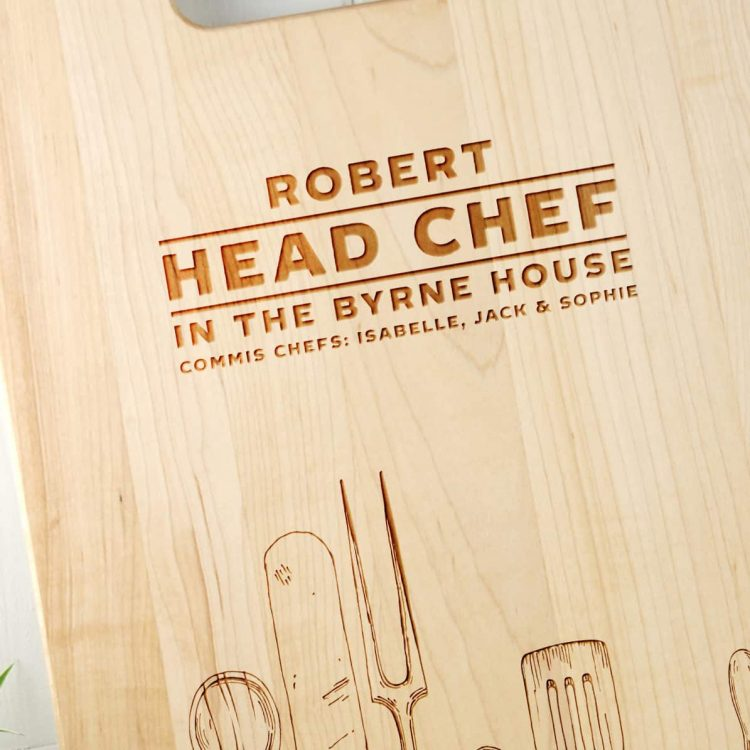 Personalised Gift for Dad or Mom Head Chef Cutting Board Close up