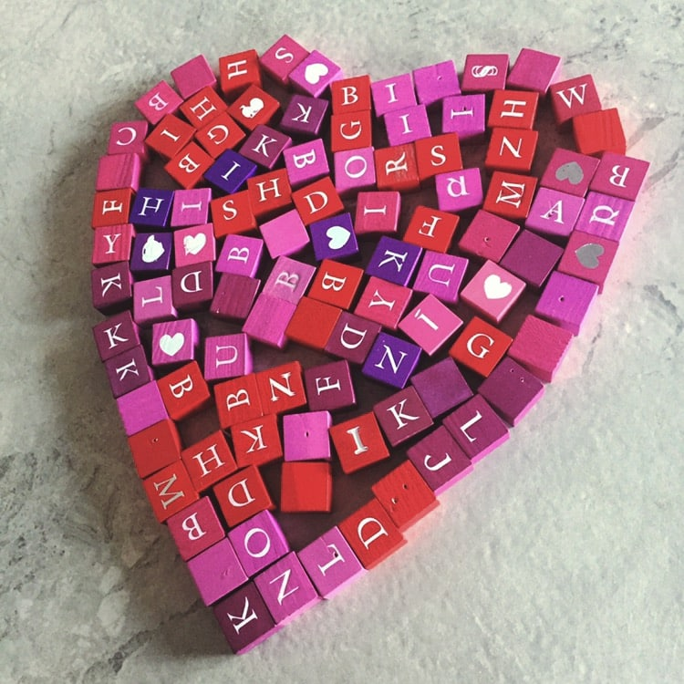 A love heart made from ABC blocks