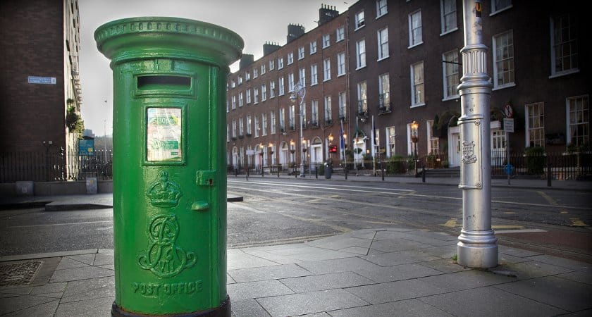 A green Irish post box