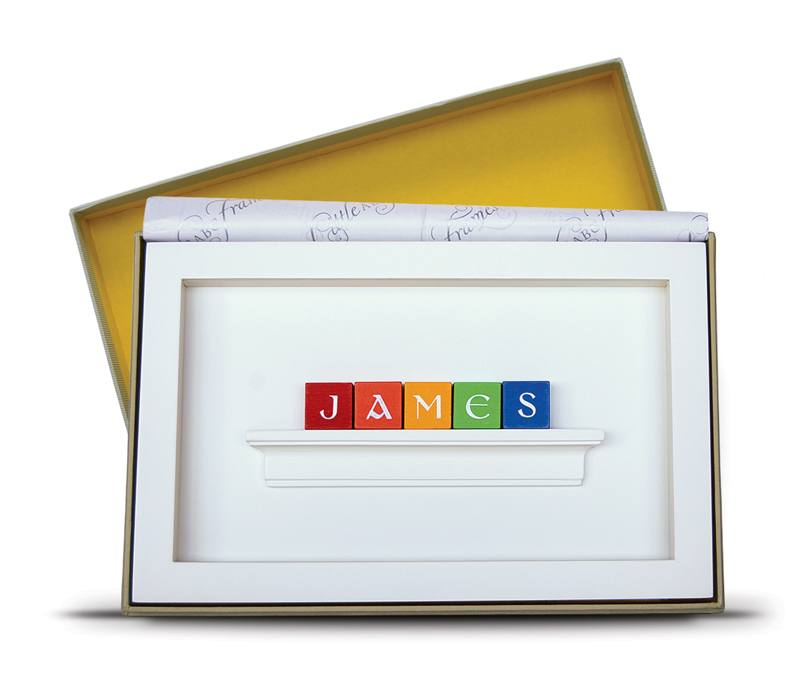 Personalised baby gift change name in frame negle