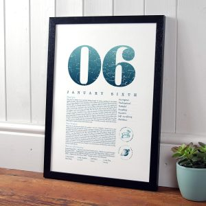 January 6th Birthday Print