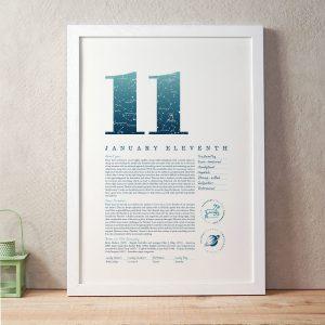 January 11th Birthday Print