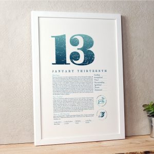 January 13th Birthday Print