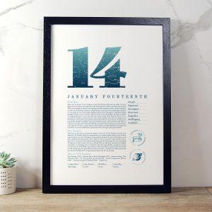 January 14th Birthday Print