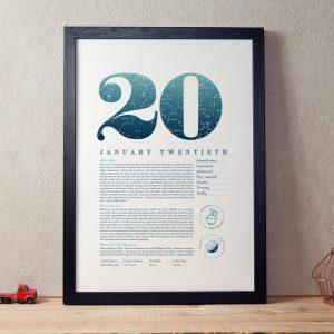 January 20th Birthday Print