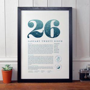 January 26th Birthday Print