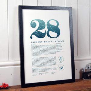 January 28th Birthday Print