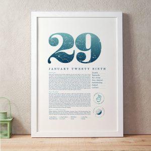January 29th Birthday Print