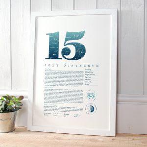 July 15th Birthday Print