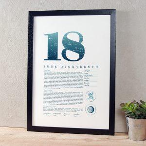 June 18th Birthday Print