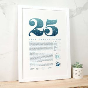 June 25th Birthday Print