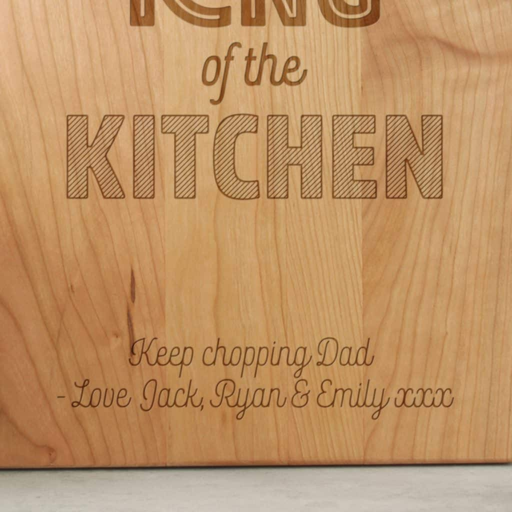 Gift for Dad King of the Kitchen Chopping Board Close Up