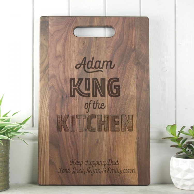 Gift for Dad Gift Walnut King of the Kitchen Chopping Board