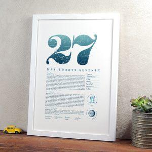 May 27th Birthday Print