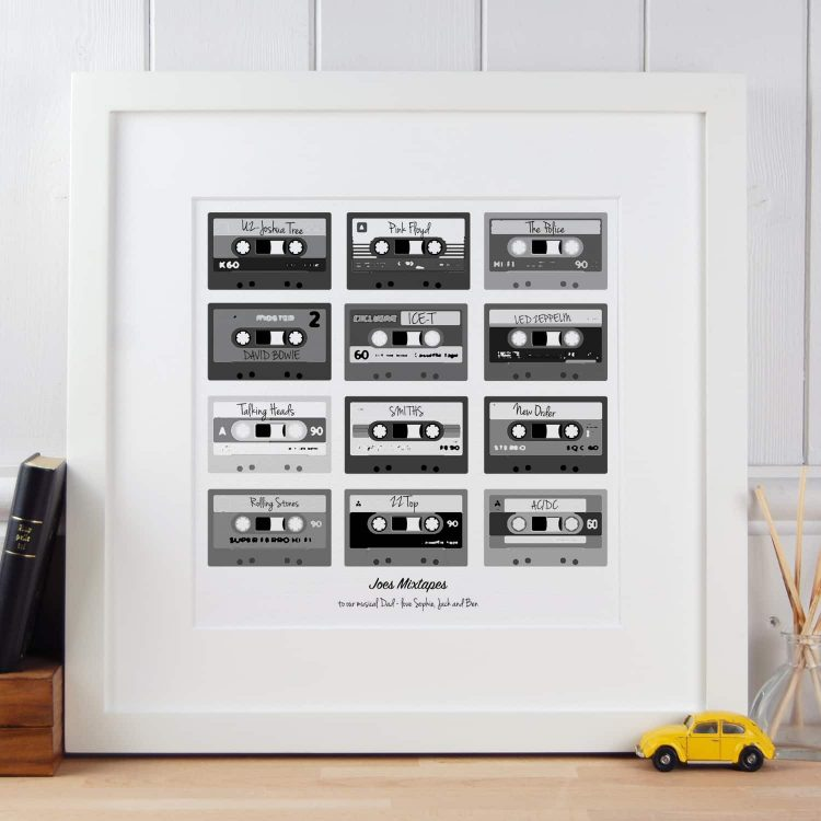 Mixtapes Poster Black and White print gift for Dad