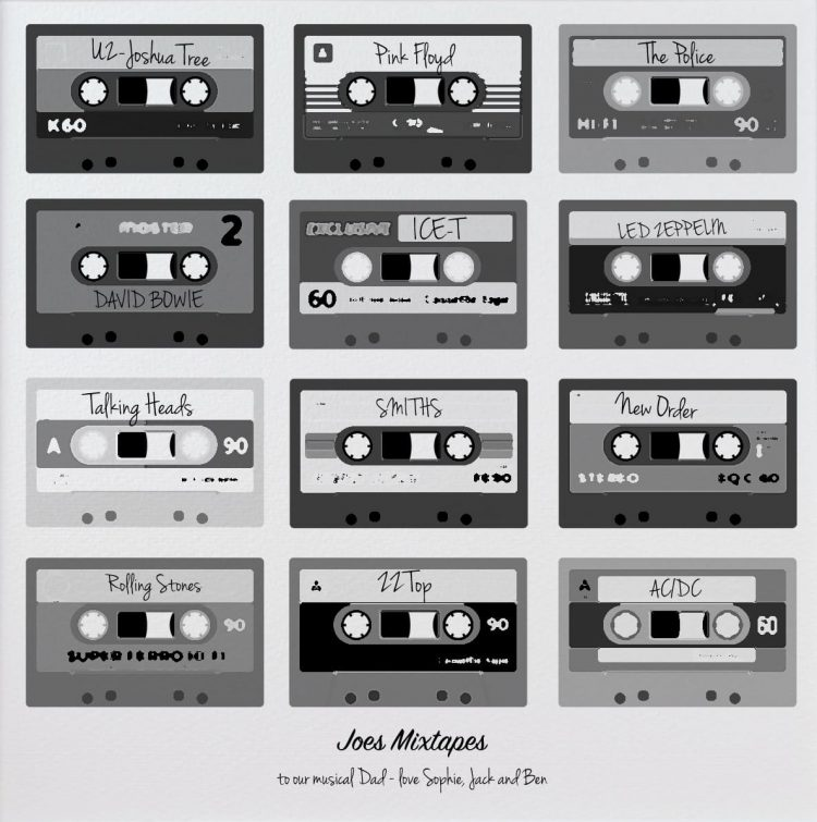 Mixtapes Poster Black and White print gift for Dad Close up