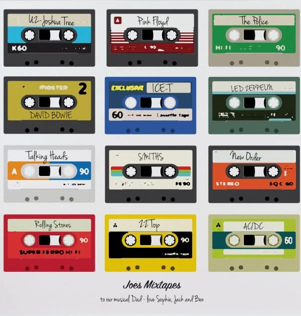 Mixtapes Poster Colour print gift for Dad