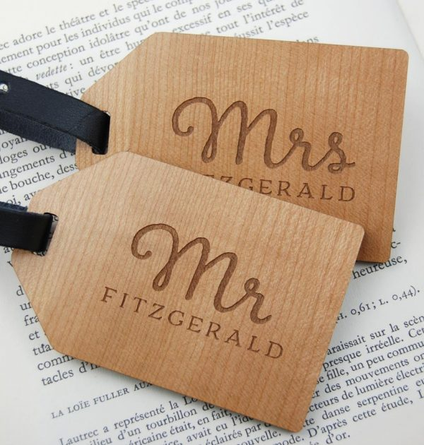 Personalised Wedding gift, personalised engagement gifts, personalised anniversary gifts engraved wooden Mr and Mrs luggage tags