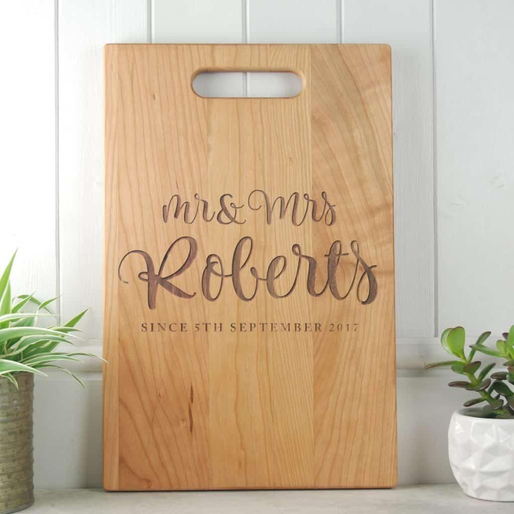 M rand Mrs Script Wedding Gift Board Cherry