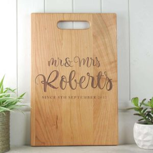 M rand Mrs Script Wedding Gift Board Cherry