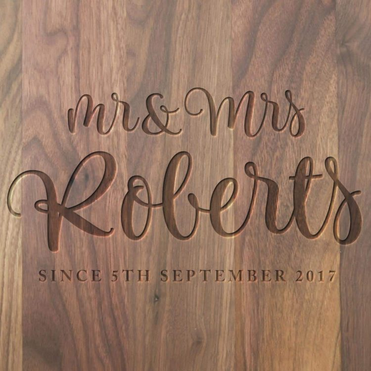 M rand Mrs Script Wedding Gift Board