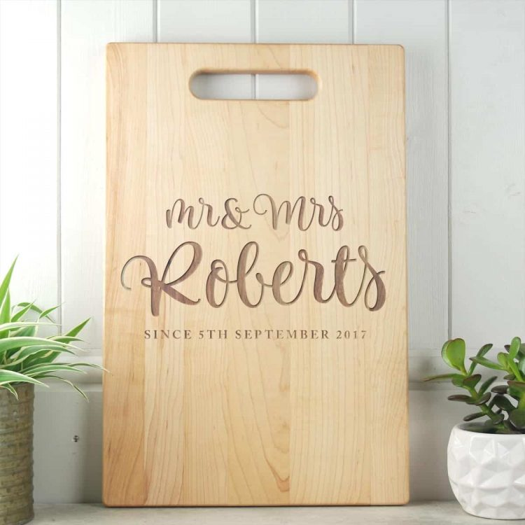 M rand Mrs Script Wedding Gift Board Maple