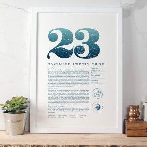November 23rd Birthday Print