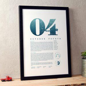 October 4th Birthday Print