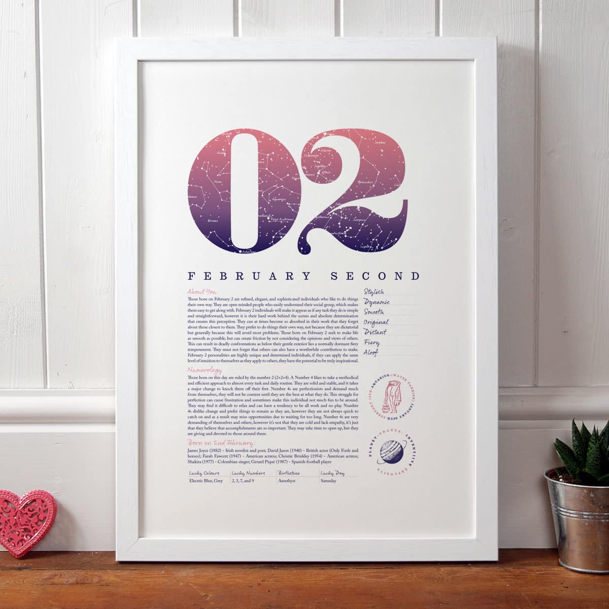 Personalised Gift For Her Birthday Print Of February 2 In Pink