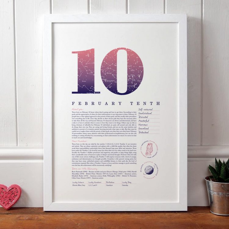 Personalised Gift for Her Birthday Print of February 10 in Pink