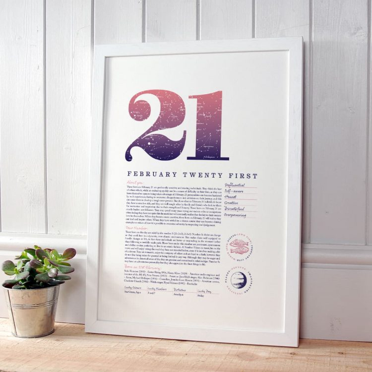 Personalised Gift for Her Birthday Print of February 21 in Pink
