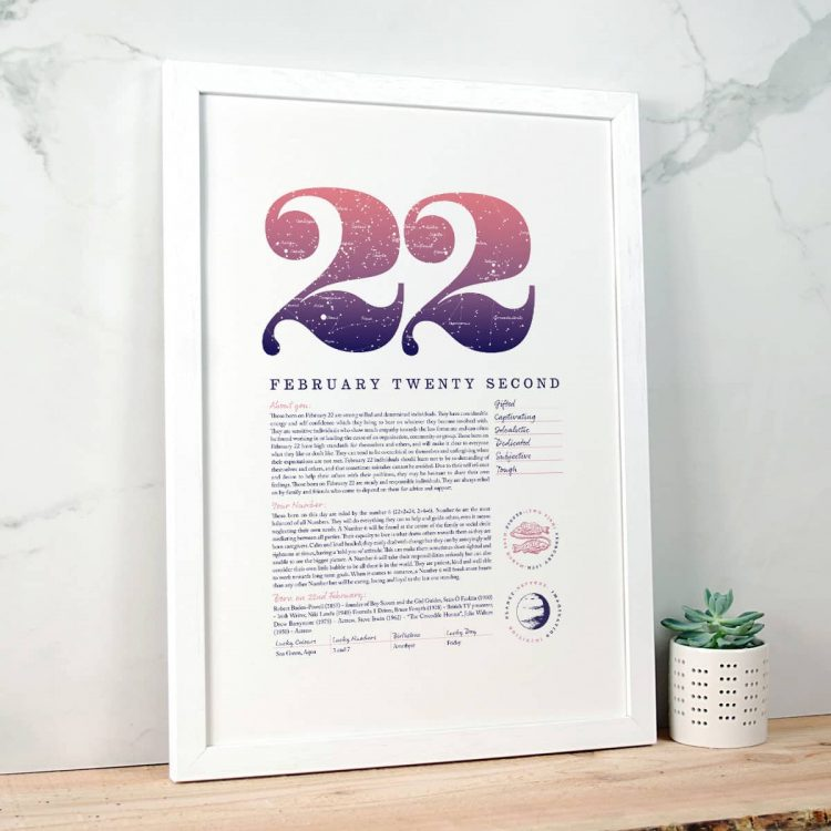 Personalised Gift for Her Birthday Print of February 22 in Pink