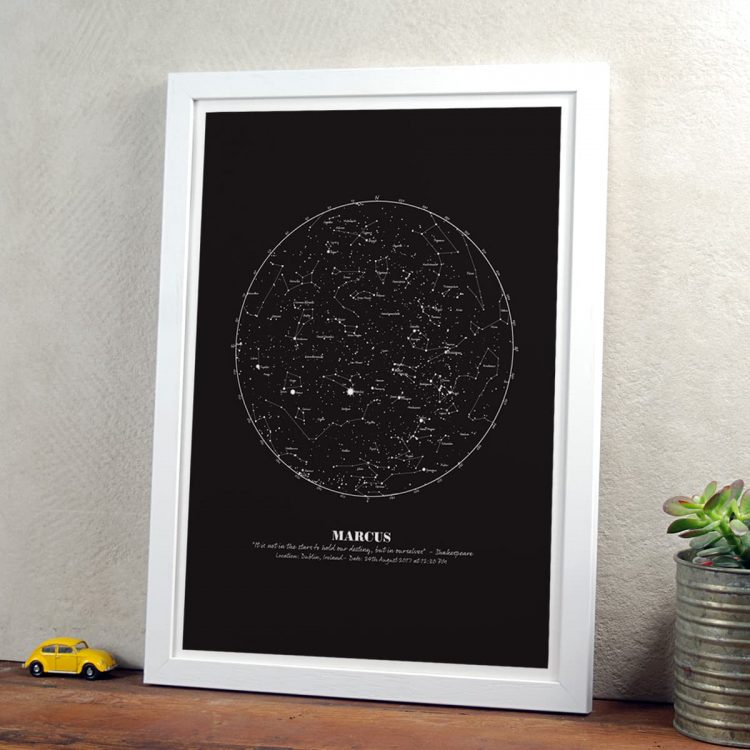 Personalised Star Print gift in black in white frame