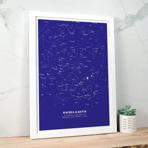 Personalised Star Map Illustration Navy