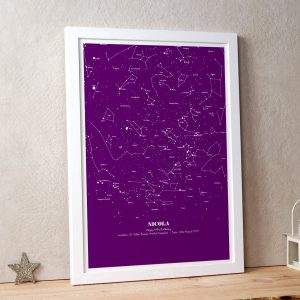 Personalised Map of the Stars Illustration Purple
