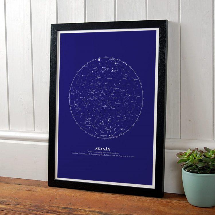 Personalised Navy Star Map in black frame