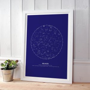 Navy Personalised Star Map Gift in white frame