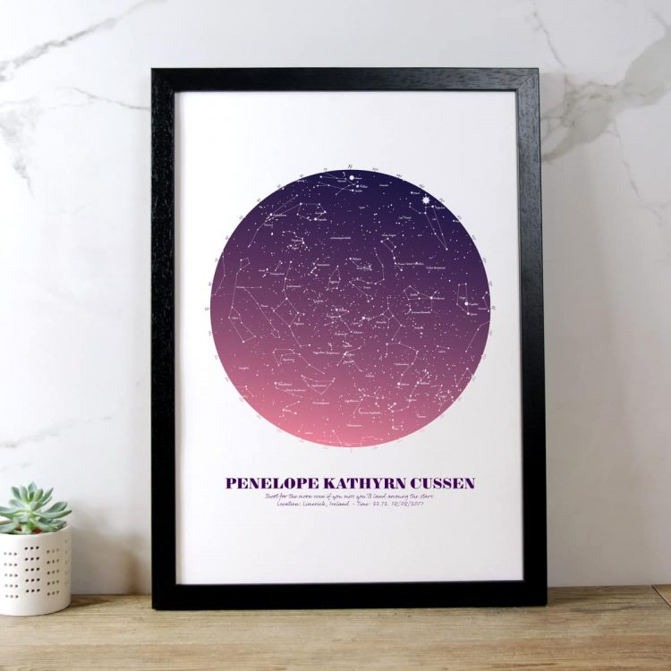 Personalised Star Map Gift Pink on White in black frame
